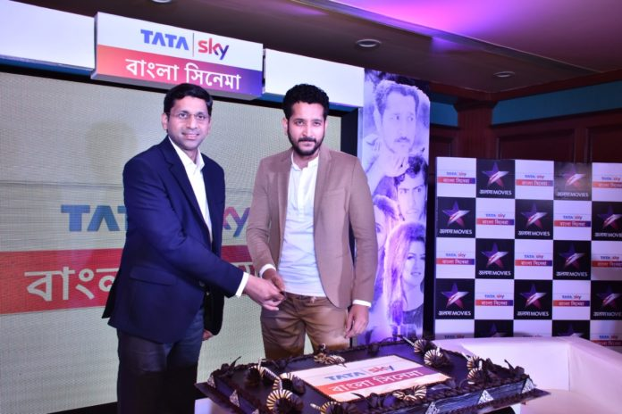 Anurag Kumar, Chief Communications Officer, Tata Sky & Parambrata Chatterjee celebrates Tata Sky Bangla Cinema in Kolkata