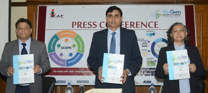 The Director, International Centre for Automotive Technology (ICAT), Shri Dinesh Tyagi releasing a brochure on NuGen Mobility Summit 2019, at a press conference, in New Delhi on April 05, 2019.