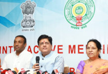 The Union Minister for Commerce & Industries, Shri Piyush Goyal addressing the media after an interactive meeting on 'Ease of Doing Business' BRAP-2019, in Tirupati, Andhra Pradesh on June 14, 2019. The Minister for IT and Industries, Andhra Pradesh, Shri Mekapati Goutham Reddy is also seen.