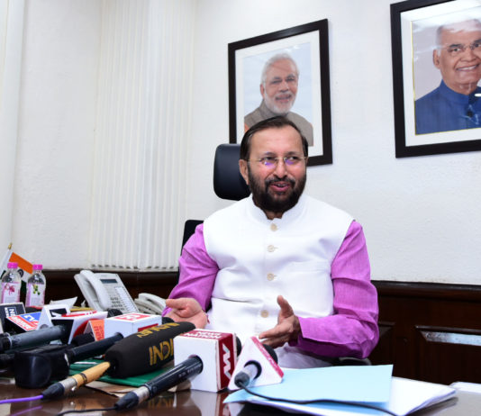The Union Minister for Environment, Forest & Climate Change and Information & Broadcasting, Shri Prakash Javadekar addressing a press conference, in New Delhi on June 19, 2019.