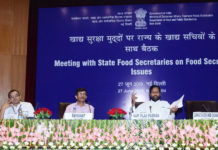 The Union Minister for Consumer Affairs, Food and Public Distribution, Shri Ram Vilas Paswan chairing a meeting with the State Food Secretaries on Food Security Issue, in New Delhi on June 27, 2019. The Secretary, Department of Food & Public Distribution, Shri Ravikant is also seen.