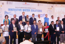 The Union Minister for Jal Shakti, Shri Gajendra Singh Shekhawat with the awardees at the National Conference-cum-Exhibition & Awards-Innovative Water Solutions- ASSOCHAM, in New Delhi on June 28, 2019.