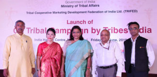 """The Minister of State for Tribal Affairs, Smt. Renuka Singh at the launch of the """"Go Tribal Campaign by Tribes India"""", in New Delhi on June 28, 2019. The Secretary, Ministry of Tribal Affairs, Shri Deepak Khandekar and other dignitaries are also seen."""