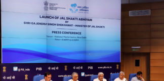 """The Union Minister for Jal Shakti, Shri Gajendra Singh Shekhawat addressing at the launch of the """"Jal Shakti Abhiyan"""", a new Pan-India Scheme, in New Delhi on July 01, 2019. The Minister of State for Jal Shakti and Social Justice & Empowerment, Shri Rattan Lal Kataria, the Secretary, Ministry of Jal Shakti, Shri U.P. Singh and the Secretary, Ministry of Drinking Water and Sanitation, Shri Parameswaran Iyer are also seen."""