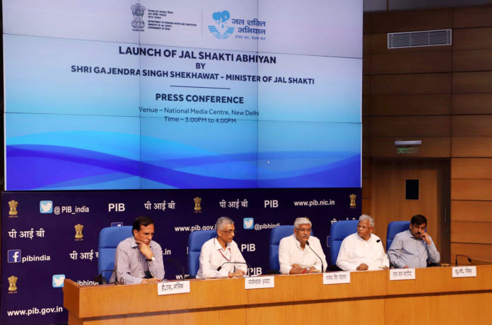 "The Union Minister for Jal Shakti, Shri Gajendra Singh Shekhawat addressing at the launch of the ""Jal Shakti Abhiyan"", a new Pan-India Scheme, in New Delhi on July 01, 2019. The Minister of State for Jal Shakti and Social Justice & Empowerment, Shri Rattan Lal Kataria, the Secretary, Ministry of Jal Shakti, Shri U.P. Singh and the Secretary, Ministry of Drinking Water and Sanitation, Shri Parameswaran Iyer are also seen."