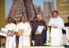 The Vice President, Shri M. Venkaiah Naidu releasing the coffee table book 'Sri Ranganathaswamy temple, Srirangam, Preserving Antiquity for Posterity', in Chennai on July 13, 2019. The Governor of Tamil Nadu, Shri Banwarilal Purohit and other dignitaries are also seen.