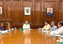 The Union Home Minister, Shri Amit Shah chairing a high level meeting in New Delhi to review the current flood situation on July 13, 2019. The Minister of State for Home Affairs, Shri Nityanand Rai, the Home Secretary, Shri Rajiv Gauba and other officials are also seen.
