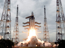 The Geosynchronous Satellite Launch Vehicle, GSLV MkIII-M1 rocket, carrying Chandrayaan-2 spacecraft, lifting off from the Second Launch Pad at the Satish Dhawan Space Centre, Sriharikota, in Andhra Pradesh on July 22, 2019.