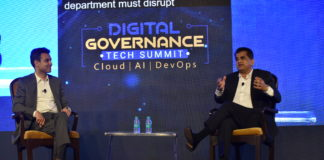 Amitabh Kant, CEO NITI Aayog and Anant Maheshwari, President, Microsoft India at the Digital Governance Tech Summit to announce the launch of a national skilling initiative
