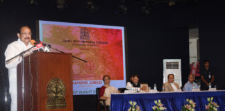 The Vice President, Shri M. Venkaiah Naidu addressing the gathering at the Diamond Jubilee Celebrations of Janki Devi Memorial College, in New Delhi on August 01, 2019. The Vice Chancellor of University of Delhi, Prof. Yogesh Tyagi and other dignitaries are also seen.