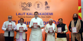 The Minister of State for Culture and Tourism (Independent Charge), Shri Prahalad Singh Patel releasing the publication at the inauguration of the 65th Foundation Day of Lalit Kala Academy, in New Delhi on August 05, 2019.