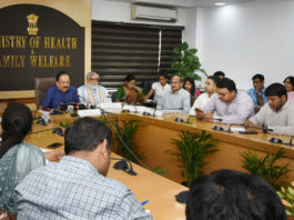 The Union Minister for Health & Family Welfare, Science & Technology and Earth Sciences, Dr. Harsh Vardhan addressing a Press Conference on the NMC Bill 2019, in New Delhi on August 08, 2019. The Minister of State for Health & Family Welfare, Shri Ashwini Kumar Choubey is also seen.