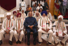 The President of India, Shri Ram Nath Kovind with the Freedom Fighters, during the 'At Home' function, on the occasion of 77th Anniversary of the Quit India Movement, at Rashtrapati Bhavan, in New Delhi on August 09, 2019.