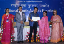 The Minister of State for Youth Affairs & Sports (Independent Charge) and Minority Affairs, Shri Kiren Rijiju presenting the National Youth Awards for excellent work and contribution in different fields of development and social service, at a function, in New Delhi on August 12, 2019. The Secretary, Department of Youth Affairs, Smt. Upma Chawdhry and other dignitaries are also seen.