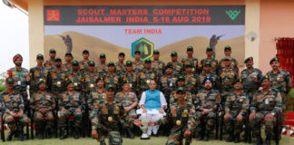 The Union Minister for Defence, Shri Rajnath Singh with the Indian Army contingent at the 5th International Army Scout Masters Competition 2019, at Jaisalmer, in Rajasthan on August 16, 2019. The Chief of Army Staff, General Bipin Rawat is also seen.