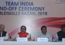 The Union Minister for Skill Development and Entrepreneurship, Dr. Mahendra Nath Pandey at the Sending off Ceremony of Team India representing the country, at the World Skills International Competition 2019, in New Delhi on August 18, 2019.