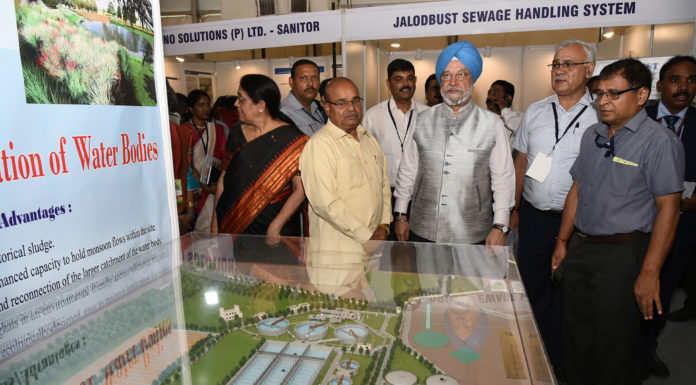 The Union Minister for Social Justice and Empowerment, Shri Thaawar Chand Gehlot visiting after inaugurating the National Workshop Cum-Exhibition on Sustainable Sanitation, jointly organised by the Ministry of Social Justice & Empowerment and Ministry of Housing & Urban Affairs, in New Delhi on August 19, 2019. The Minister of State for Housing & Urban Affairs, Civil Aviation (Independent Charge) and Commerce & Industry, Shri Hardeep Singh Puri and the Secretary, Ministry of Housing and Urban Affairs, Shri Durga Shanker Mishra are also seen.