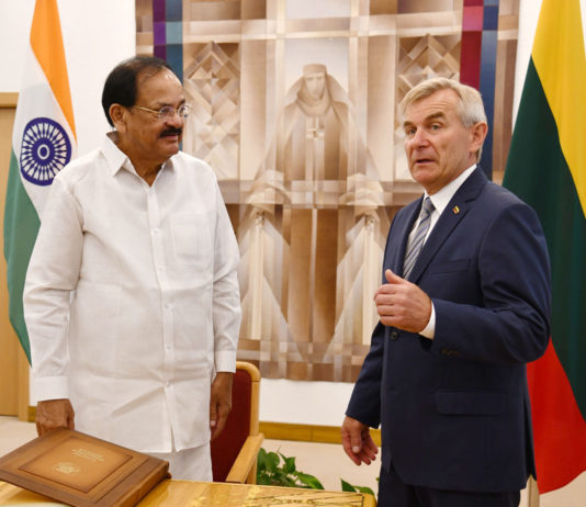 The Vice President, Shri M. Venkaiah Naidu in a meeting with the Speaker, Mr. Viktoras Pranckietis at the Seimas (Parliament) of the Republic of Lithuania, in Vilnius on August 19, 2019.