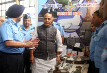 The Union Minister for Defence, Shri Rajnath Singh visiting the stalls showcasing indigenisation of equipment used by Indian Air Force, at the seminar on 'Modernisation and Indigenisation plans of the Indian Air Force', in New Delhi on August 20, 2019. The Chairman Chiefs of Staff Committee and Chief of the Air Staff, Air Chief Marshal B.S. Dhanoa is also seen.
