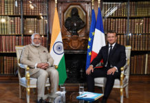 The Prime Minister, Shri Narendra Modi meeting the President of France, Mr. Emmanuel Macron, in France on August 22, 2019.
