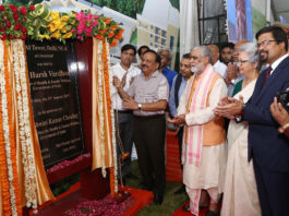The Union Minister for Health & Family Welfare, Science & Technology and Earth Sciences, Dr. Harsh Vardhan laying the foundation stone of FSSAI Tower, at Ghaziabad, Uttar Pradesh on August 23, 2019. The Minister of State for Health and Family Welfare, Shri Ashwini Kumar Choubey and other dignitaries are also seen.