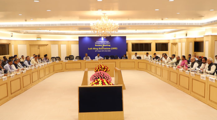 The Union Home Minister, Shri Amit Shah chairing a review meeting on security issues with the Chief Ministers of Left Wing Extremism (LWE) affected states, in New Delhi on August 26, 2019.