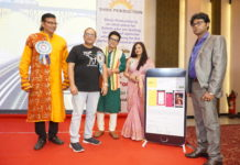 "L-R : Chief guests talented singer Surojit Chatterjee, renowned actor Rajatava Dutta, famous actor Debdut Ghosh,and popular actress Sreelekha Mitra along with Mr. Santu Sinha, Mentor, Shine Production unveiling of the app ""Shine Pro""."