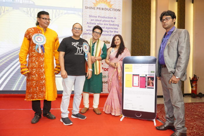 L-R : Chief guests talented singer Surojit Chatterjee, renowned actor Rajatava Dutta, famous actor Debdut Ghosh,and popular actress Sreelekha Mitra along with Mr. Santu Sinha, Mentor, Shine Production unveiling of the app