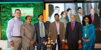 John Schoettler, Vice President, Global Real Estate and Facilities; Hon'ble Minister, Home, Prisons & Fire Services of Government of Telangana, Mohammad Mahmood Ali; Jayesh Ranjan, Principal Secretary, Industries & Commerce & IT Department, Govt. of Telangana; Amit Agarwal, SVP & Country Head, Amazon India, Amazon; Consul General, Joel Riefman, US Consulate, Hyderabad; Deepti Varma, Director HR, India and Middle East, Amazon