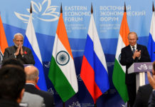 The Prime Minister, Shri Narendra Modi and the President of Russian Federation, Mr. Vladimir Putin at the Joint Press Statements, at Vladivostok, in Russia on September 04, 2019.