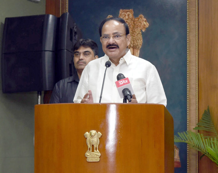 The Vice President, Shri M. Venkaiah Naidu addressing the gathering after the rendition of Classical Bhajan Concert by Vocalist, Ms. Sooryagayathri, in New Delhi on September 09, 2019.