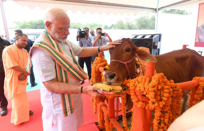 The Prime Minister, Shri Narendra Modi visits Pashu Vigyan Evam Arogya Mela, in Mathura, Uttar Pradesh on September 11, 2019. The Chief Minister of Uttar Pradesh, Yogi Adityanath is also seen.