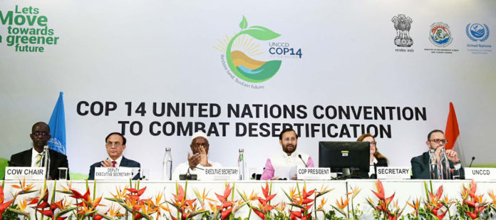 The Union Minister for Environment, Forest & Climate Change and Information & Broadcasting, Shri Prakash Javadekar addressing on the concluding day of the 14th Conference of Parties COP 14 United Nations Convention to Combat Desertification, at India Expo Centre & Mart, Greater Noida on September 13, 2019. The Executive Secretary, UNCCD, Mr. Ibrahim Thiaw and other dignitaries are also seen.