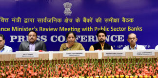 The Union Minister for Finance and Corporate Affairs, Smt. Nirmala Sitharaman addressing a press conference after chairing the review meeting with the Public Sector Banks Heads, in New Delhi on September 19, 2019. The Minister of State for Finance and Corporate Affairs, Shri Anurag Singh Thakur and other dignitaries are also seen.