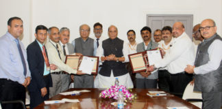 The Union Minister for Defence, Shri Rajnath Singh witnessing the exchange of an MoU for setting up of Kalam Centre for Science & Technology at the University between DRDO and Central University of Jammu (CUJ), in New Delhi on September 26, 2019. The Secretary, Department of Defence R&D and Chairman, DRDO, Dr. G. Satheesh Reddy, the Chancellor of CUJ, Ambassador G. Parthasarthi and the Vice Chancellor of CUJ, Prof. Ashok Aima are also seen.