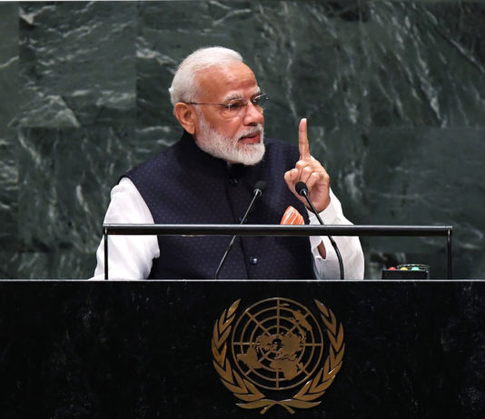 The Prime Minister, Shri Narendra Modi addressing at the United Nations General Assembly (UNGA), in New York, USA on September 27, 2019.