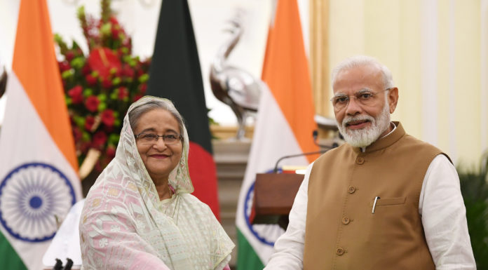 The Prime Minister, Shri Narendra Modi and the Prime Minister of Bangladesh, Ms. Sheikh Hasina, at the Joint Press Statements, at Hyderabad House, in New Delhi on October 05, 2019.
