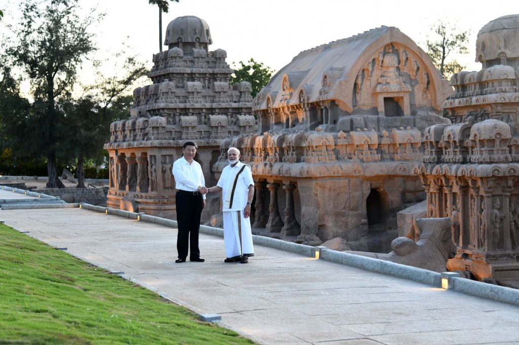 The Prime Minister, Shri Narendra Modi and the President of the People's Republic of China, Mr. Xi Jinping, at the Pancha Rathas complex, in Mamallapuram, Tamil Nadu on October 11, 2019.