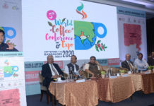 The Union Minister for Railways and Commerce & Industry, Shri Piyush Goyal addressing at the curtain raiser of the 5th World Coffee Conference & Expo to be held at Bengaluru in 2020, at IGI Airport, in New Delhi on October 15, 2019. The Commerce Secretary, Dr. Anup Wadhawan and other dignitaries are also seen.