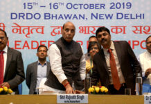 The Union Minister for Defence, Shri Rajnath Singh launching the new website of DRDO, during the 41st Directors' Conference of DRDO, in New Delhi on October 15, 2019. The National Security Adviser, Shri Ajit Doval and the Secretary, Department of Defence R&D and Chairman, DRDO, Dr. G. Satheesh Reddy are also seen.