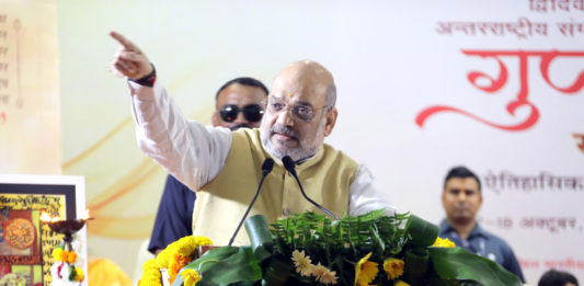 The Union Home Minister, Shri Amit Shah addressing a seminar: Guptvanshak Veer: Skandagupta Vikramaditya, at Banaras Hindu University (BHU), Varanasi on October 17, 2019.