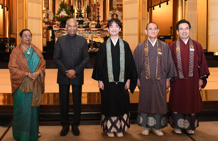 The President, Shri Ram Nath Kovind visiting the Tsukiji Hongwanji Buddhist Temple, at Tokyo, in Japan on October 21, 2019.