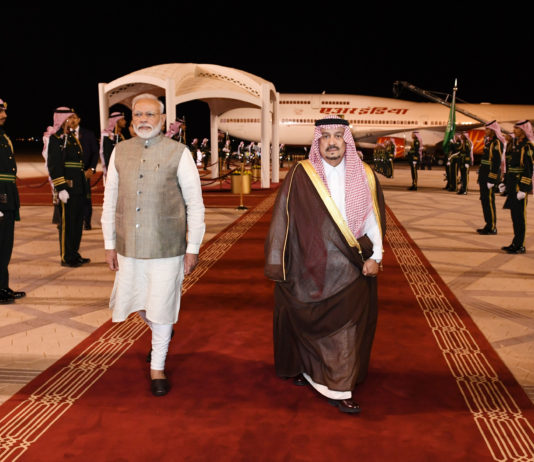 The Prime Minister, Shri Narendra Modi arrives at Riyadh, Saudi Arabia on October 29, 2019.