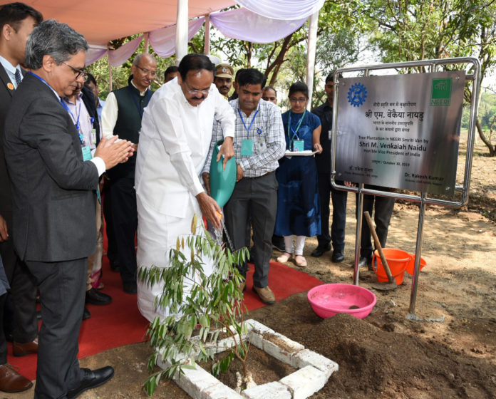"The Vice President, Shri M. Venkaiah Naidu planting a sapling after inaugurating the 15th International Conference on ""Metal Ions & Organic Pollutants in Biology, Medicine and Environment (Metal Ions 2019)"", organised by the CSIR-NEERI, in Nagpur on October 30, 2019."