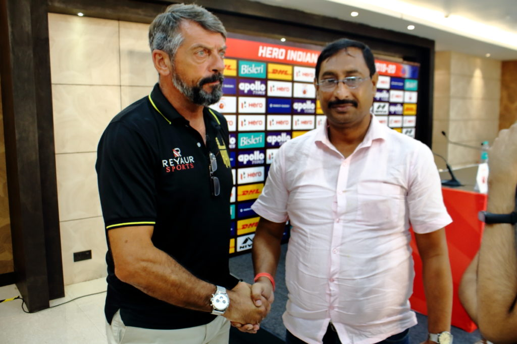 IBG News Reporter Md. Khairul Amin with Hyderbad FC Coach Phil Brown