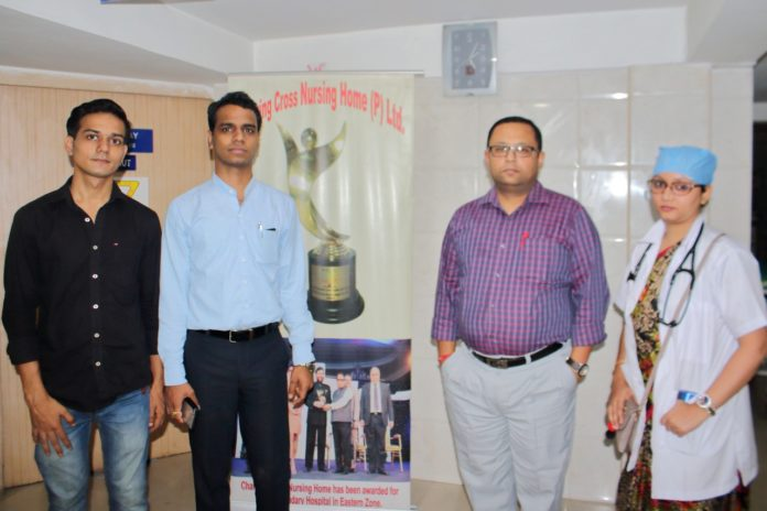 Left to Right Son of Mr. Kandelwal, Charring Cross Nursing Home Owner Mr. Rahul,Doctor Anirban Roy Chowdhury, and RMO Madam of Charring Cross during Press Meet