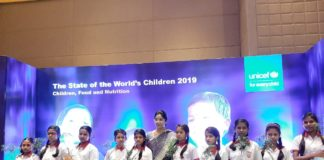 Dr Shashi Panja- Minister of Women and childwelfare, along with children