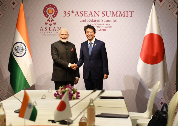 The Prime Minister, Shri Narendra Modi and the Prime Minister of Japan, Mr. Shinzo Abe in a bilateral meeting, on the sidelines of 16th India-ASEAN Summit, in Bangkok, Thailand on November 04, 2019.