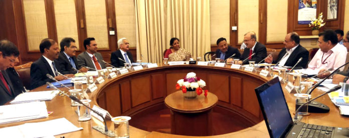 The Union Minister for Finance and Corporate Affairs, Smt. Nirmala Sitharaman Chairing the Financial Stability and Development Council (FSDC) meeting, in New Delhi on November 07, 2019.