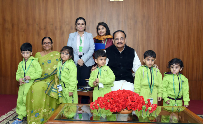 The Vice President, Shri M. Venkaiah Naidu interacting with the students from various school from across National Capital Region, Haryana, Uttar Pradesh and other Neighbouring states, on the occasion of Children's Day, in New Delhi on November 14, 2019.